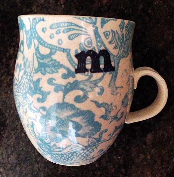 "Anthropology ""M"" mug"
