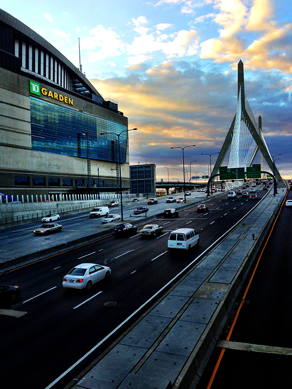 TD Boston Garden and The Leonard P. Zakim Bunker Hill Bridge