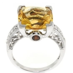Citrine ring with garnet accent