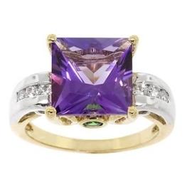 Amethyst, diamond, and peridot accent ring