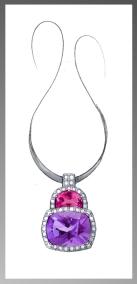 Amethyst and Pink Tourmaline pendant