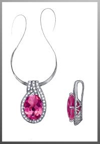 Pink Tourmaline and diamond pendant