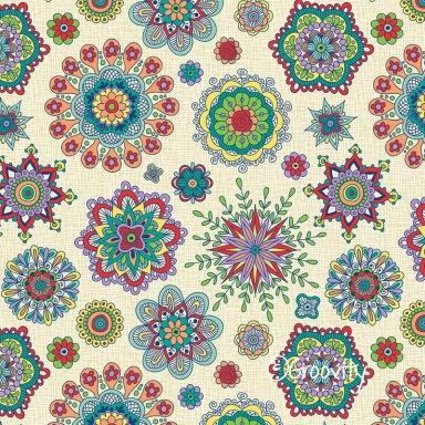 Folky Flora on Linen-by Mary Tanana-© Groovity