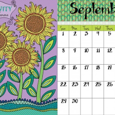 September 2013 Calendar Page by Mary Tanana