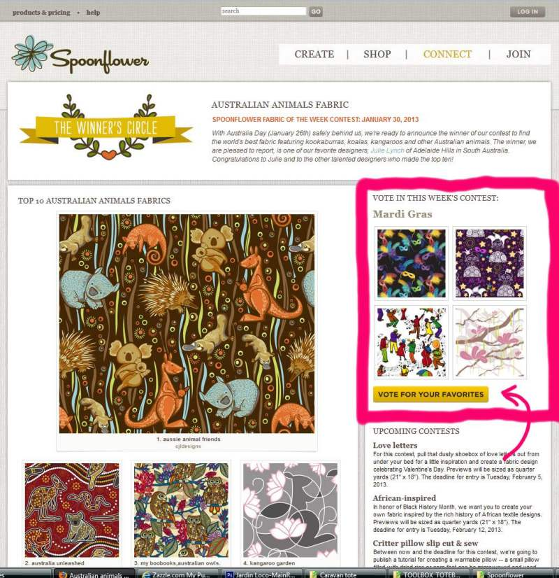 spoonflower mardi gras contest page