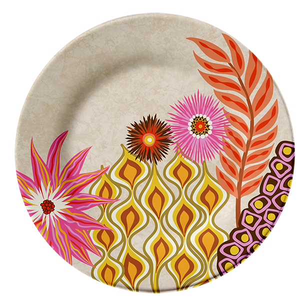"""Eclectic Gypsyland"" plate design by Mary Tanana © 2013"
