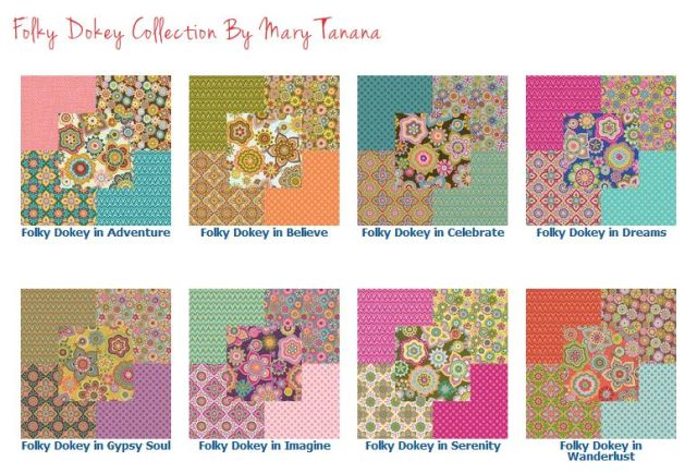 Modern Yardage Folky-Dokey Collection Page © Mary Tanana 2014