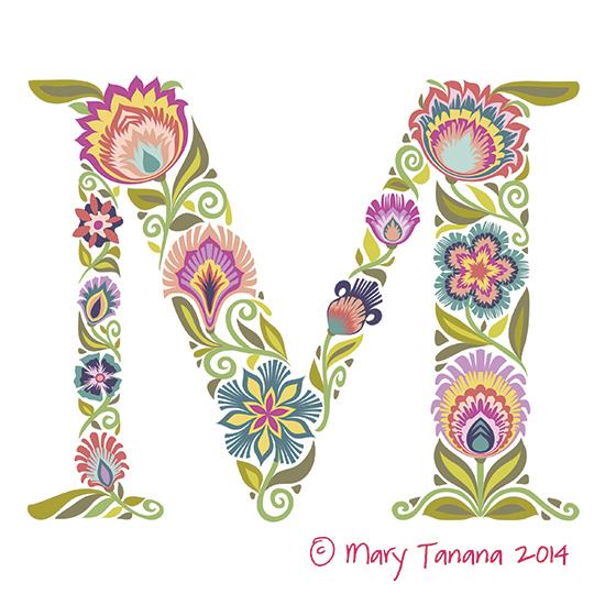 M initial art print © Mary Tanana 2014