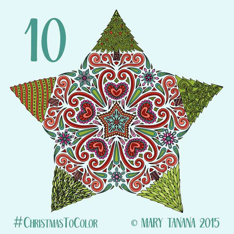 © Mary Tanana 2015 Christmas to Color-Tree Star