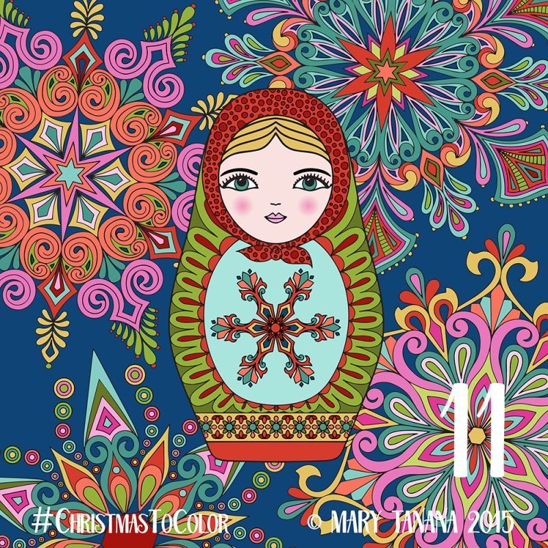 © Mary Tanana 2015 Christmas to Color-Matryoshka