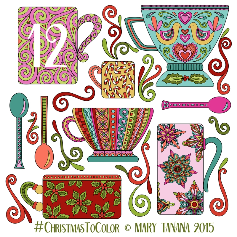 mary tanana 2015 christmas to color mugs