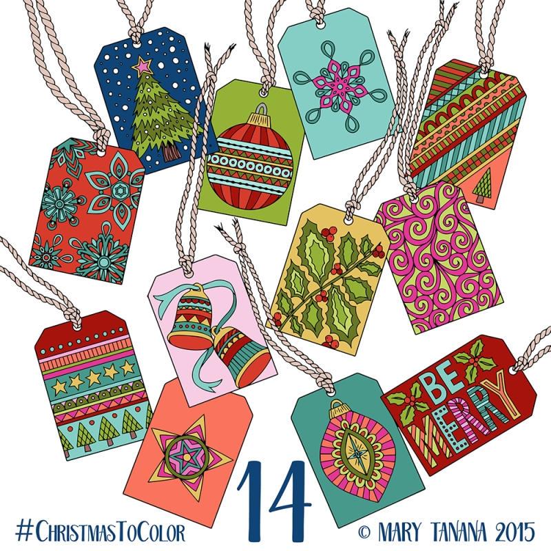 © Mary Tanana 2015 Christmas to Color-Gift Tags