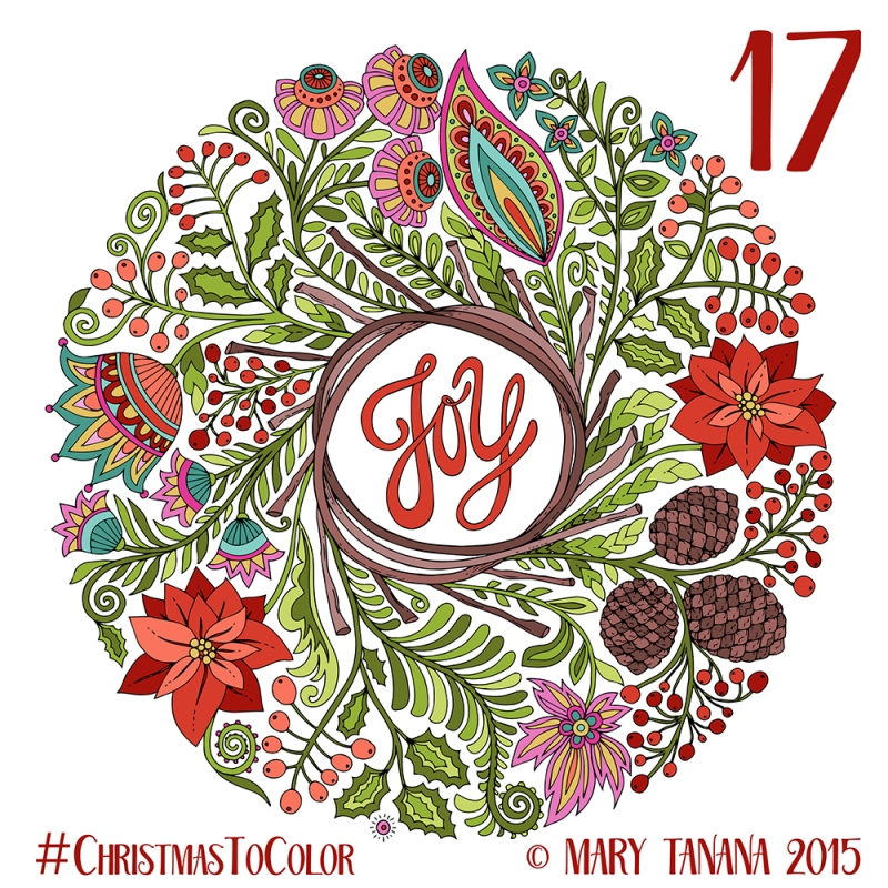 © Mary Tanana 2015 Christmas to Color- Joy Wreath