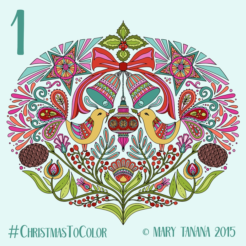 © Mary Tanana 2015 Christmas to Color Folk