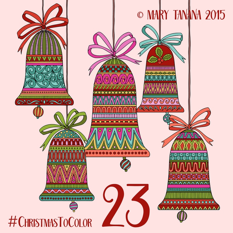 © Mary Tanana 2015 Christmas To Color- Bells