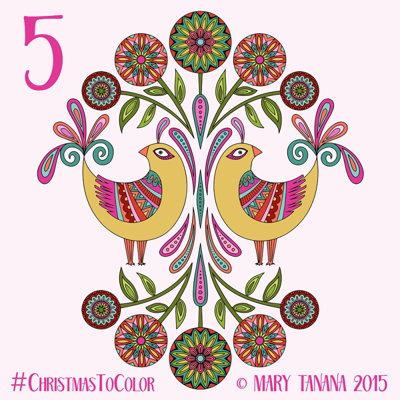 © Mary Tanana 2015 Christmas to Color Folk Birds