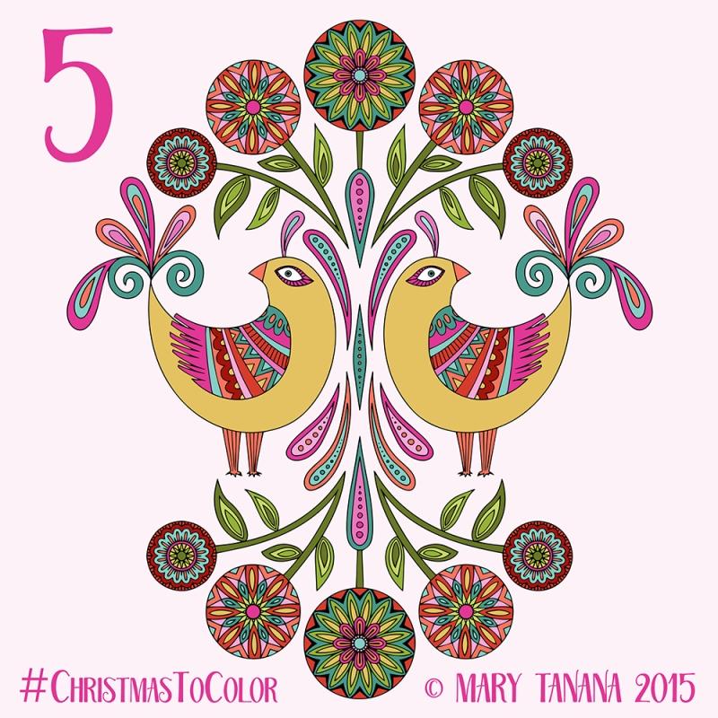 © Mary Tanana 2015 Christmas to Color Folk Birds