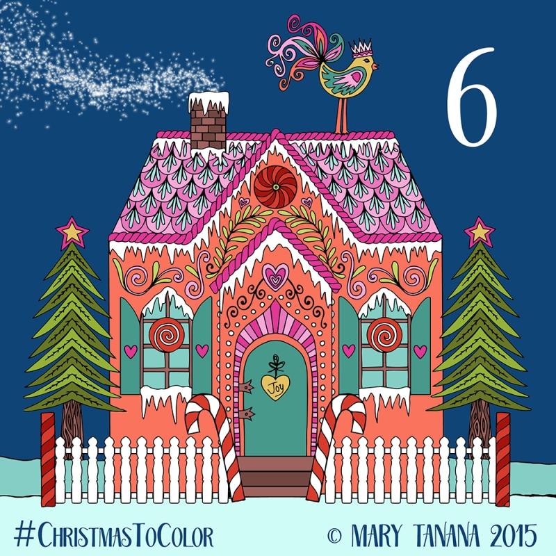 © Mary Tanana 2015 Christmas to Color Gingerbread House