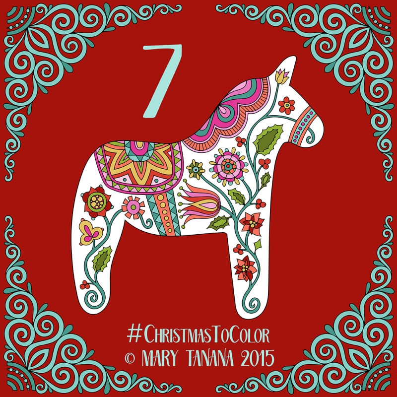 © Mary Tanana 2015 Christmas to Color Dala Horse