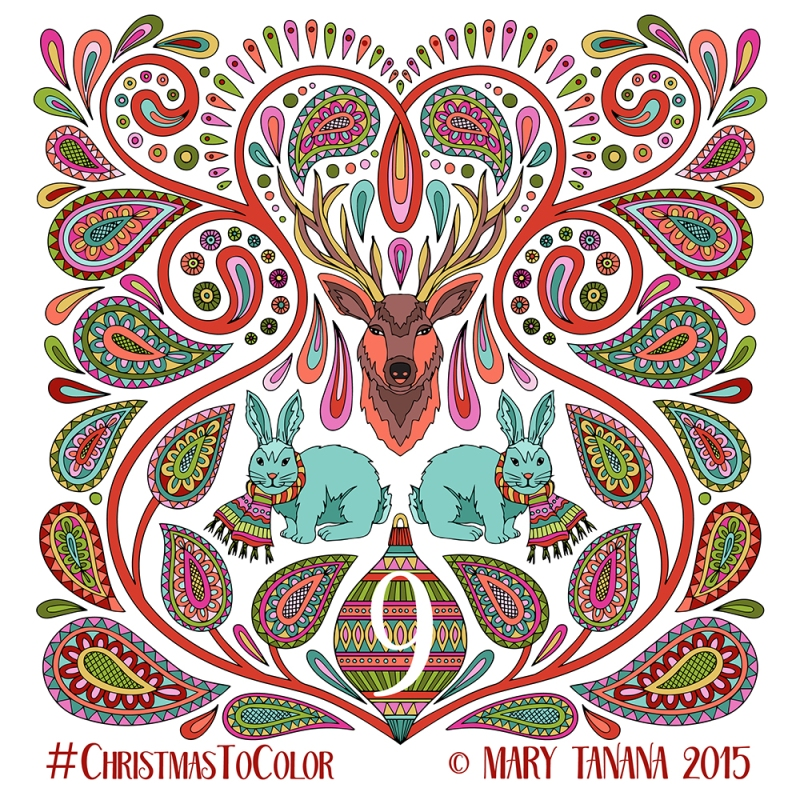 © Mary Tanana 2015 Christmas to Color-Blue Bunnies
