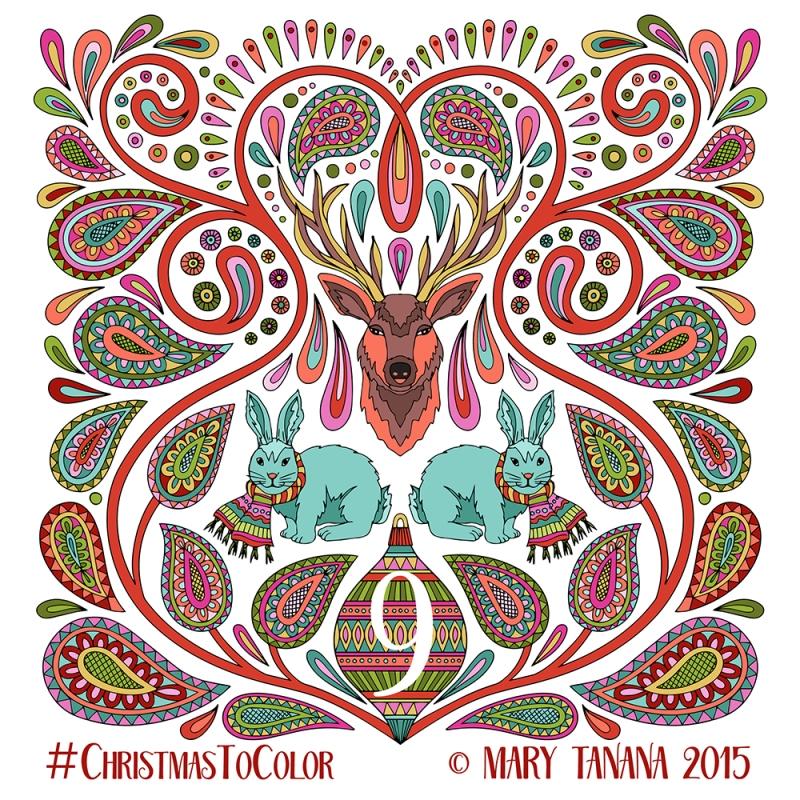 © Mary Tanana 2015 Christmas to Color-Blue Bunnies